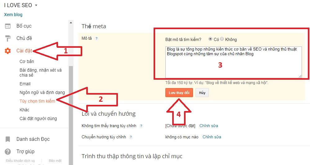 chỉnh meta description trong blogspot