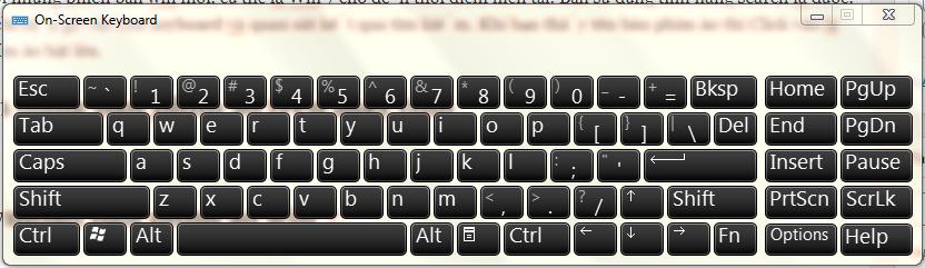 cách dùng bàn phím ảo trên laptop