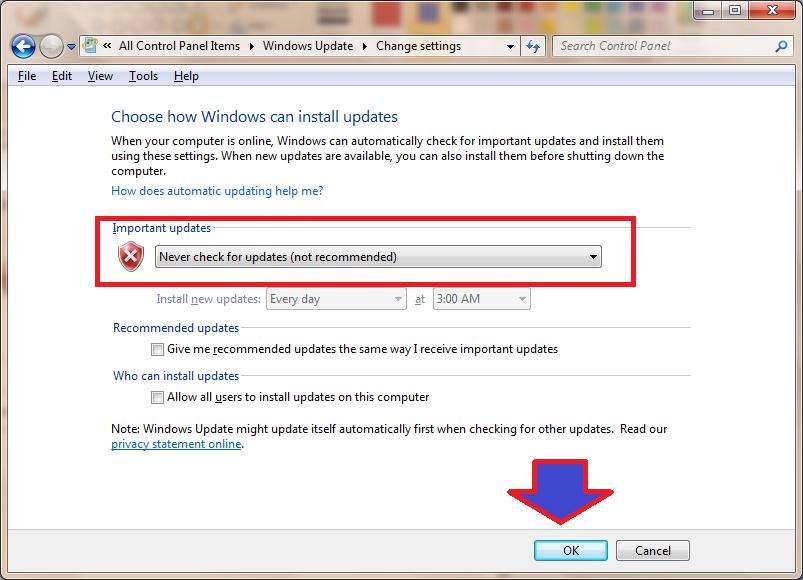 cách tắt window update win 7