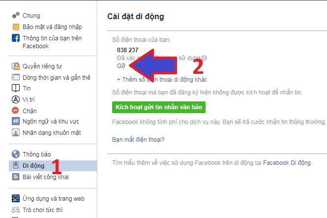 cách xóa số điện thoại chính trên facebook