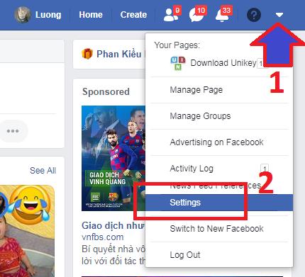 cài đặt tiếng Việt cho facebook