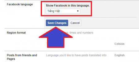 thiết lập tiếng Việt cho facebook