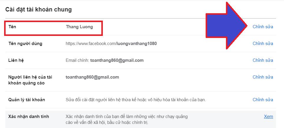 cách thay đổi tên trong facebook