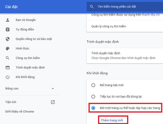 cài đặt google làm trang chủ trên chrome