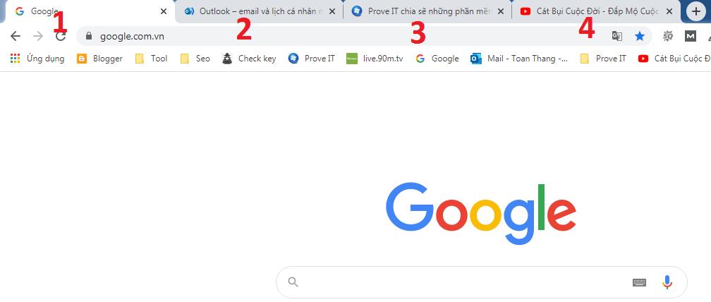phím tắt chuyển tab trong chrome