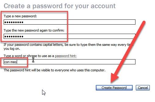 cách cài mật khẩu cho win xp