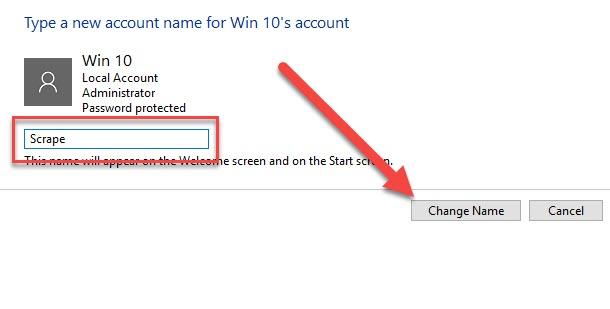 cách đổi tên user trong win 10