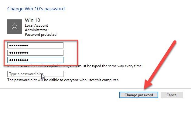 đổi mật khẩu laptop