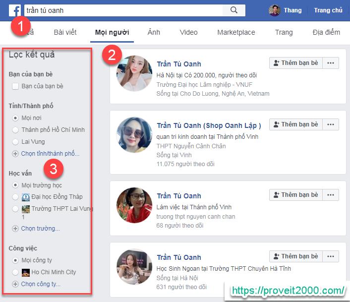 tìm facebook qua tên và ngày sinh